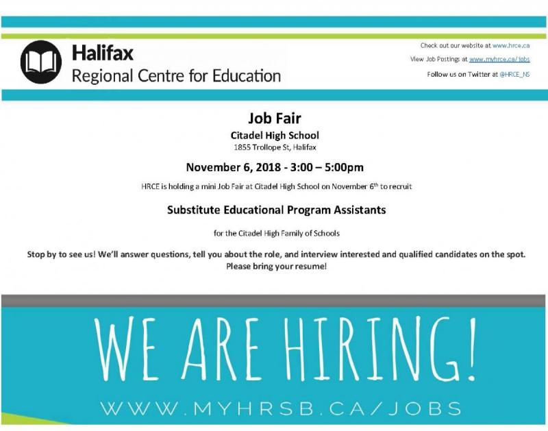We Are Hiring - Job Fair (Citadel High School November 6th, 2018 @ 3